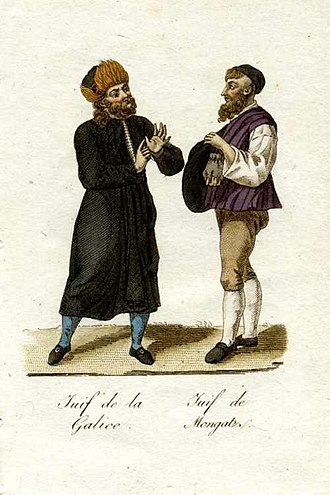 Carpathian Ruthenia - Jews from Galicia (left) and Mukachevo (right), 1821