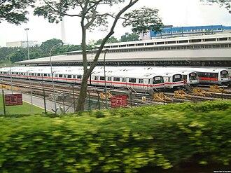 North South MRT line - From Left- 2 Siemens C651 trains and 2 Kawasaki C751B trains at Ulu Pandan Depot