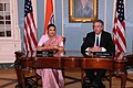 Under Secretary Burns and Indian Ambassador to the U.S. H.E. Meera Shankar Prepare To Sign the U.S.-India Agreement for Nuclear Cooperation Conclusion of Reprocessing Arrangements and Procedures (4853987614).jpg