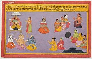 Gods and Brahmins Worshipping Durga, from the Bhagavata Purana (1 of 3)