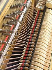 مجموعهٔ اهرمها و چکشهای داخل پیانو