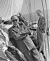 Uránusz vitorláshajó, Balaton, öltönyös vendégek (1955) Fortepan 16112.jpg