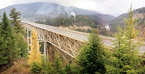 Moyie Dam - The Moyie River Canyon Bridge, with Moyie Dam visible in background to the north