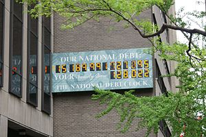 Government debt - National Debt Clock outside the IRS office in NYC, April 20, 2012