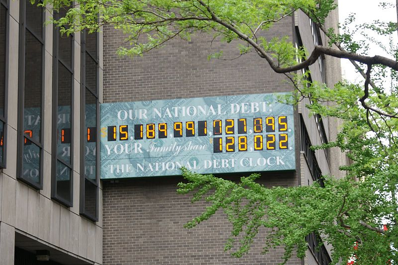 US National Debt counter outside the IRS office in NYC, taken 4/20/2012. Add $1.5 billion/day to get current amount.
