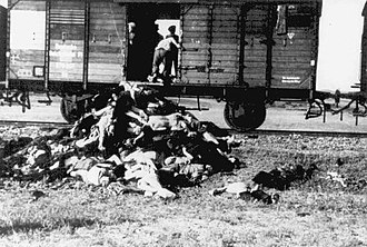 Iași pogrom - Romanians remove corpses of Jewish victims deported from Iași following pogrom