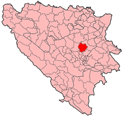 Location of Vareš within Bosnia and Herzegovina.