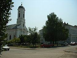 Town center of Veliko Gradiste and Orthodox church