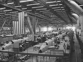 Ceiling Unlimited - Production line at the Vega aircraft plant in Burbank, California, c. 1941