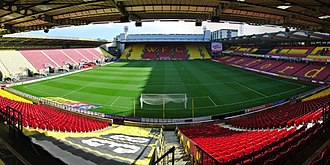 Hertfordshire - Vicarage Road stadium in Watford.