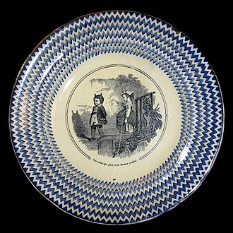 "Innocence - Faience plate, Bordeaux, c. 1840, ""A shadow which will later become realized""."