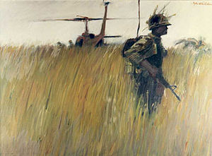 Landing zone - LANDING ZONE by John O. Wehrle, U. S. Army Vietnam Combat Artists Program Team I, (CAT I 1966). Courtesy National Museum of the U. S. Army.