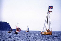 Viking ships off the coast of Newfoundland (reconstruction)