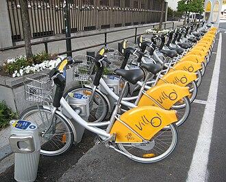Villo! - Line of bikes at a Villo! station