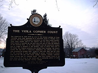 Viola Township, Olmsted County, Minnesota - Historic marker describing the Gopher Count in Viola, Minnesota.