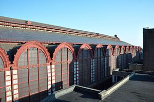 Antwerpen-Centraal railway station - Visible wave-distortion in the roof of the train hall of the Antwerp Central Station (Antwerpen-Centraal), as seen from the roof of an adjacent building in the Pelikaanstraat (near the corner with De Keyserlei) on 13 September 2016. The warping of the structure can be seen at the far top-right end of the roof here.
