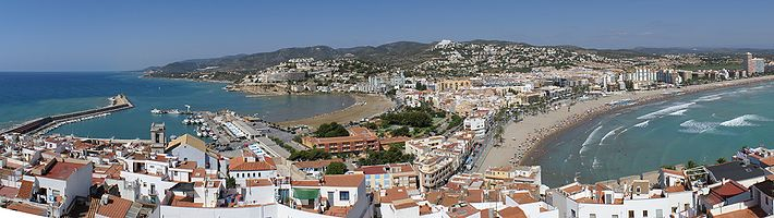 Panoramic view of Peñíscola, Castellón, Spain, from the castle.
