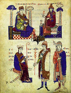 Willa of Tuscany - Page of the Vita Mathildis. From left to right: on top: Tedaldus marchio (Tedald of Canossa) and his wife Guillia comitissa (Willa of Tuscany). On the bottom: Tedaldus eps. (possibly the same as above), Bonifacius (Boniface of Tuscany, Tedald's son) and Chonradus (possibly Emperor Conrad).