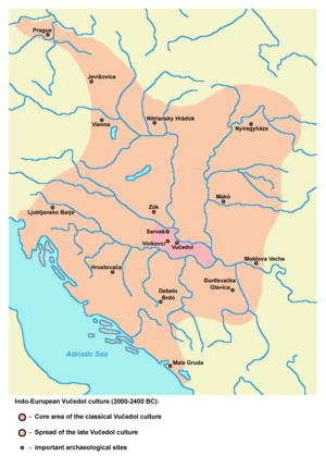 Syrmia - Map of Indo-European Vučedol culture centred in Syrmia (3000-2400 BC).
