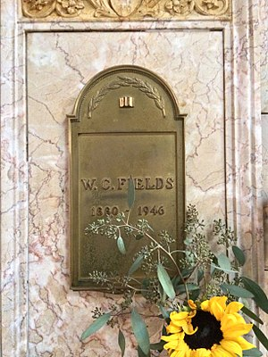 W. C. Fields - Niche of W. C. Fields in the Columbarium of Nativity in the Great Mausoleum, Forest Lawn Glendale.