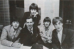 Love You To - Harrison (top) in August 1966 with his Beatles bandmates and American disc jockey Jim Stagg