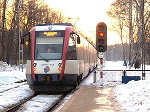 Type EN95 train at Podkowa Leśna Główna station