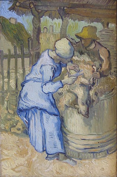 File:WLANL - Minke Wagenaar - Vincent van Gogh 1889 The sheep shearer (after Millet)-2-2.jpg