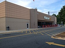 The exterior of the Walmart Discount Store in Charlotte, North Carolina