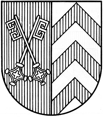 Hatching (heraldry) - The coat of arms of the German district of Minden-Lübbecke in a coloured and hatched version.