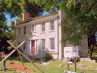 Lancaster, New York - The Warren Hull House, at the intersection of Genesee Street and Pavement Road in Lancaster. It is Erie County's oldest surviving stone structure, built in 1810.