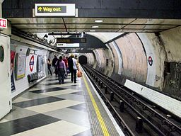 Waterloo tube stn Northern southbound look north