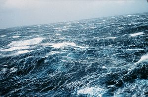 Dispersion (water waves) - North Pacific storm waves as seen from the NOAA M/V Noble Star, Winter 1989.