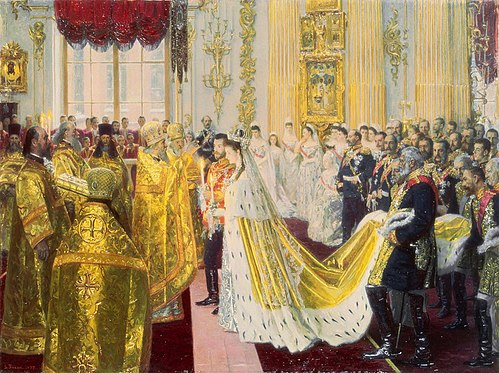 The wedding of Tsar Nicholas II of Russia. Wedding of Nicholas II and Alexandra Feodorovna by Laurits Tuxen (1895, Hermitage).jpg