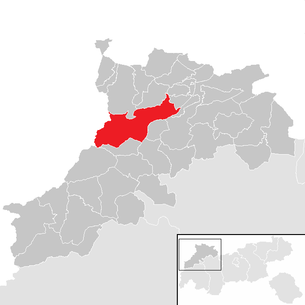 Location of the community Weißenbach am Lech in the Reutte district (clickable map)