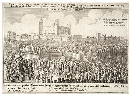 An engraving by Wenceslas Hollar depicting from a distance the execution of Strafford, with significant persons labelled. Wenceslas Hollar - Execution of Strafford (State 3).jpg