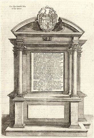 John Puckering - Tomb of Thomas Puckering by Nicholas Stone 1639, St Mary's, Warwick, engraving by Wencelas Hollar