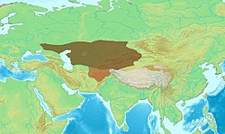 Greatest extent of the Western Turkic Khaganate after the Battle of Bukhara (brown), and their southern expansion as the Tokhara Yabghus and Turk Shahis (ochre)