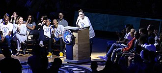 Lindsay Whalen - Whalen amusing the audience at Lindsay Whalen Day in 2018