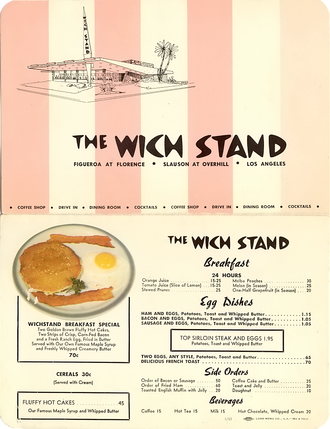 Wich Stand - Restaurant Menu from early 1960s with illustration of Slauson Ave location