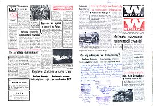 "Bydgoszcz events - March 20–21, 1981, issue of Wieczór Wrocławia (The Wrocław Evening). Blank spaces remain after the government censor has pulled articles from page 1 (right, ""What happened at Bydgoszcz?"") and from the last page (left, ""Country-wide strike alert""), leaving only their headlines. The printers—Solidarity-trade-union members—decided to run the newspaper as it was, with blank spaces intact to avoid concealing the censorship. The bottom of page 1 of this master copy bears the hand-written Solidarity confirmation of that decision."