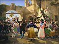 Wilhelm Marstrand - Romerske borgere forsamlet til lystighed i et osteri - 1839.jpg