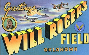 Will Rogers World Airport - World War II postcard from Will Rogers Army Airfield