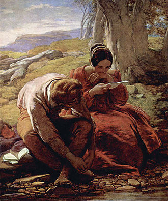 William Mulready - The Sonnet:  1839 Mulready oil painting in V&A Collection