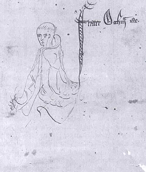 "William of Ockham - William of Ockham – Sketch labelled ""frater Occham iste"", from a manuscript of Ockham's Summa Logicae, 1341"