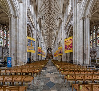 Winchester Cathedral - The nave looking east towards the choir