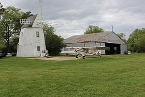 Cape Cod Airfield - Image: Windmill and hangar