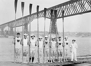 Intercollegiate Rowing Association - The University of Wisconsin varsity sport rowing team competing in the Intercollegiate Rowing Association regatta on June 11, 1914 at the Poughkeepsie Bridge
