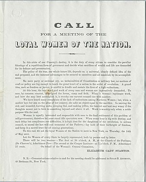 Women's Loyal National League -  The call to the League's founding convention.