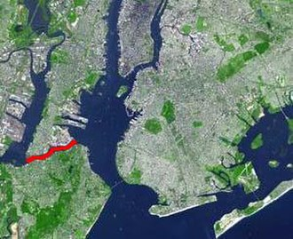 Kill Van Kull - The Kill Van Kull (in red) connects Newark Bay and Upper New York Bay