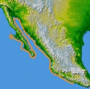 Francisco de Ulloa - Route of the 1539 voyage by Francisco de Ulloa from (Acapulco) along the west coast of Mexico